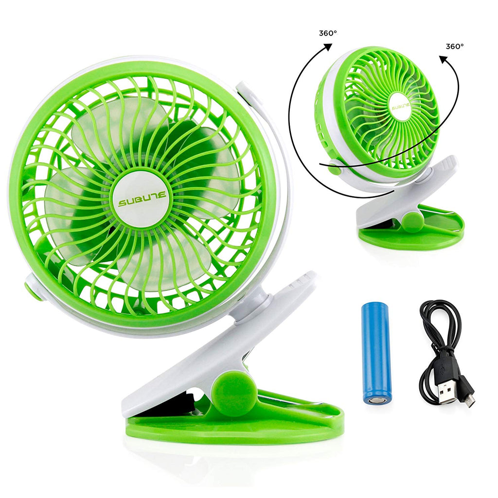 Oct17 Portable Stroller Table Fan Rechargeable Battery USB Mini Battery Operated Clip on Mini Desk Fan for Home Office Baby Stroller Car Laptop Study Gym Camping Tent