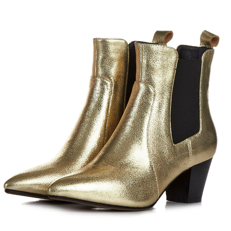 Bright Silver Gold Ankle Boots – So Chic Fashions 2cfaeac5e