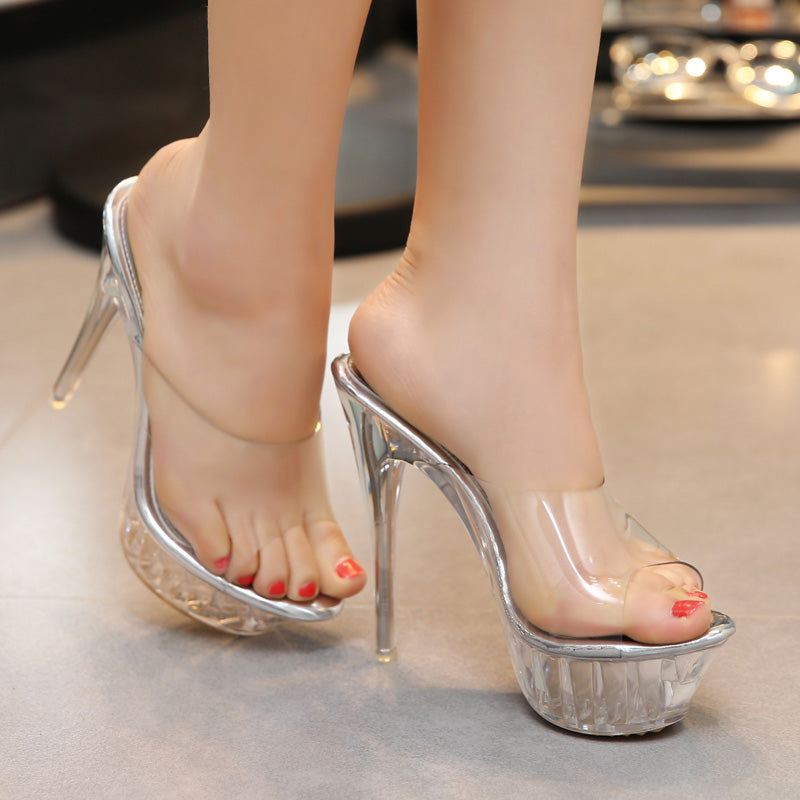 ec5a69c4a64 Women Transparent Piscine Platform sexy slingback clear mules High Heel  Pumps