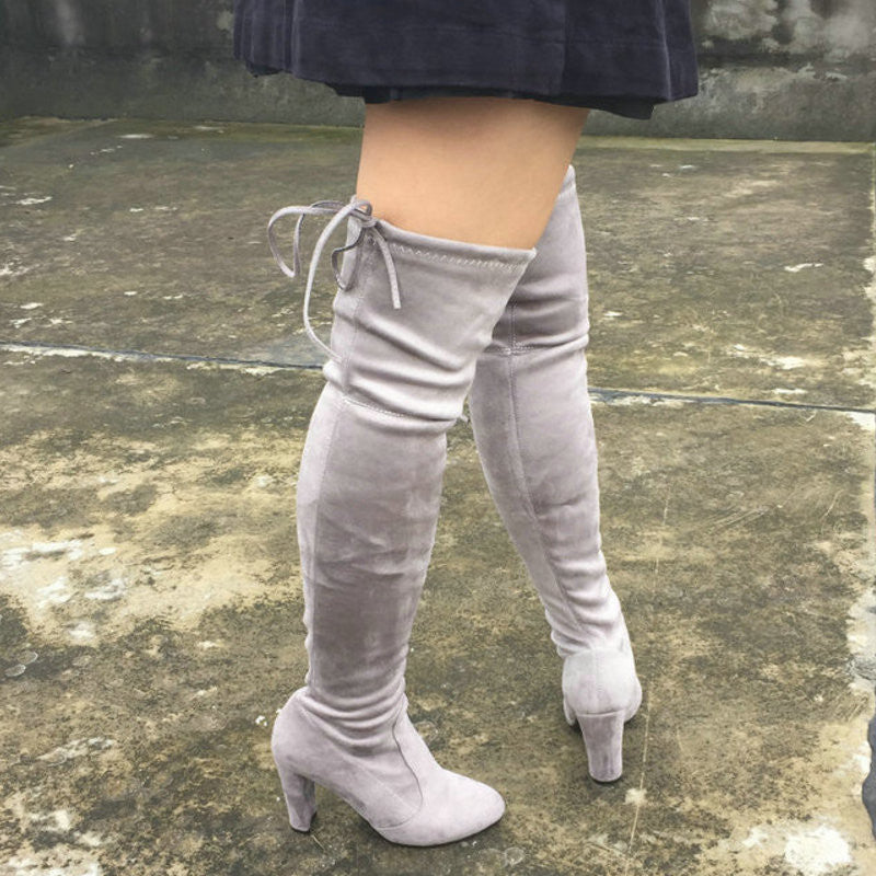 f1a91c3d335 Women Stretch Suede Slim Thigh High Sexy boots – So Chic Fashions