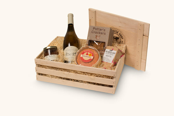 cheese shop perfect pairing in wine crate