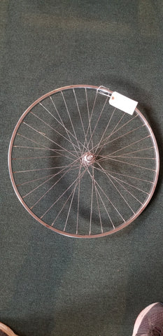 Used: 27x1 1/4 steel rear wheel. Freewheel, bolt on