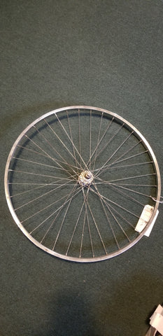 Used: 27x1 1/4 steel rear wheel. Bolt on. Freewheel