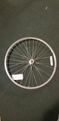 "Used: 26"" alloy front wheel. QR single wall rim"