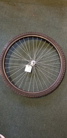 "Used: 26"" steel bolt on front wheel. With tire"