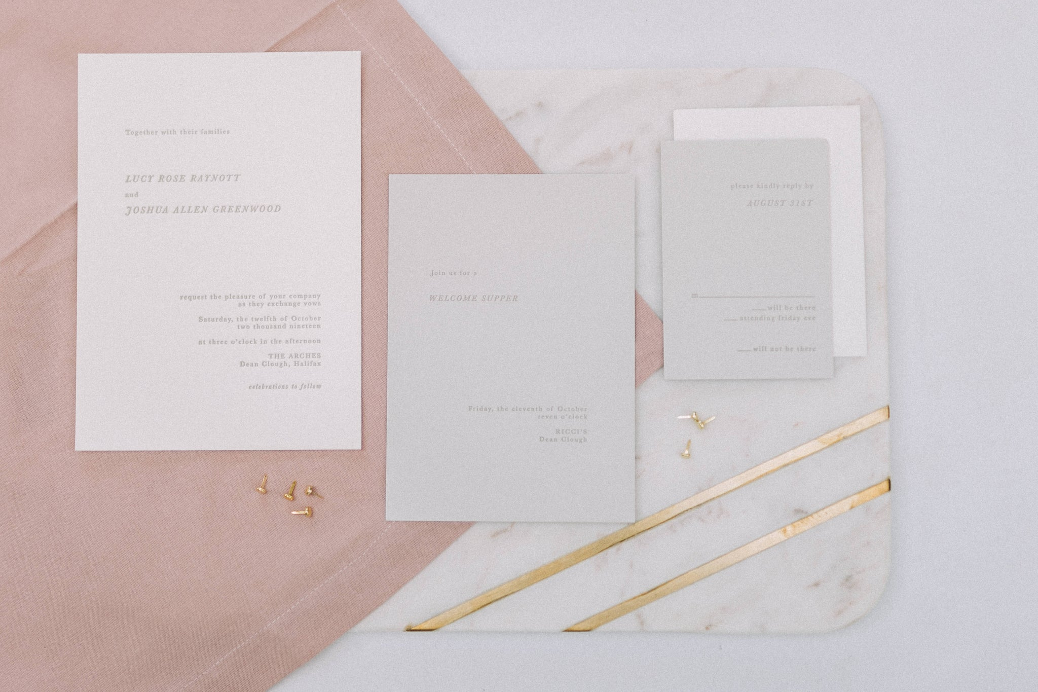 modern minimalistic wedding stationary