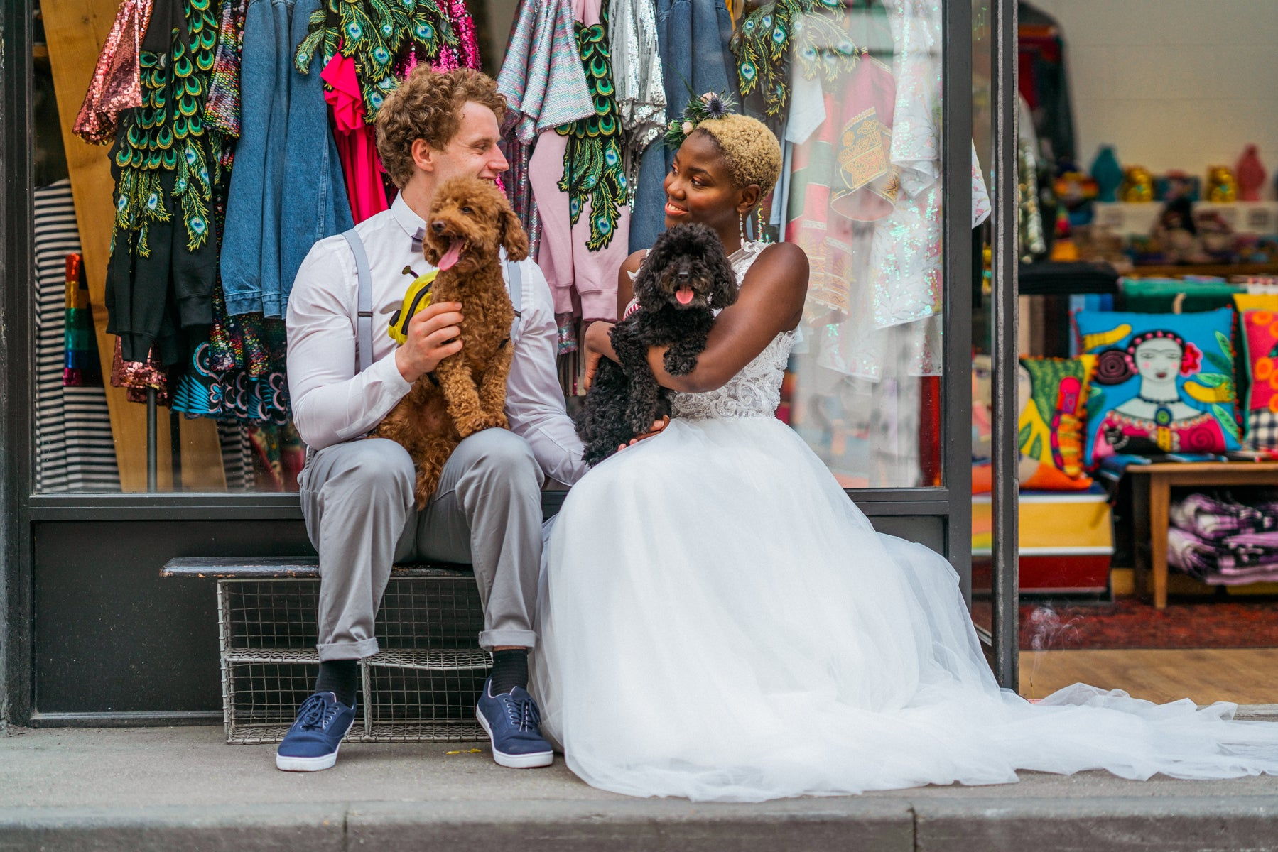 Wedding Couple with Cute Instagram Dogs