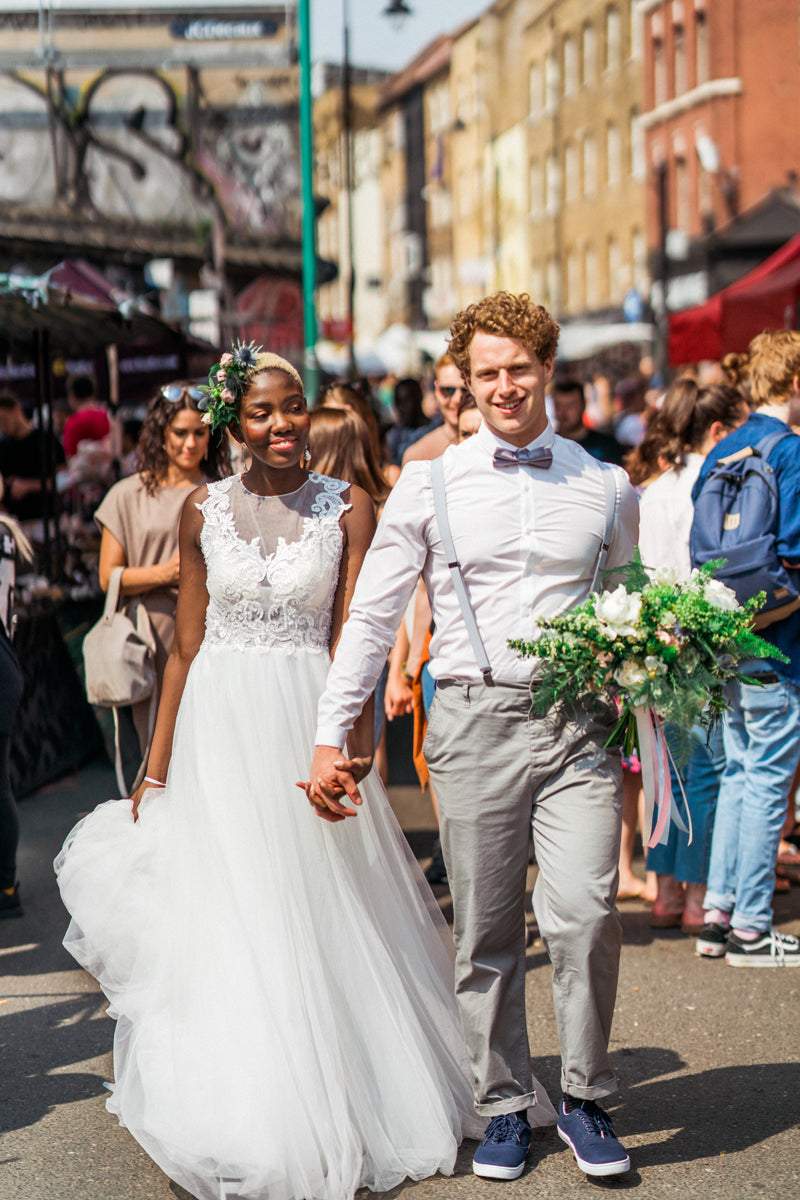 Wedding Couple Walking through Shoreditch Market