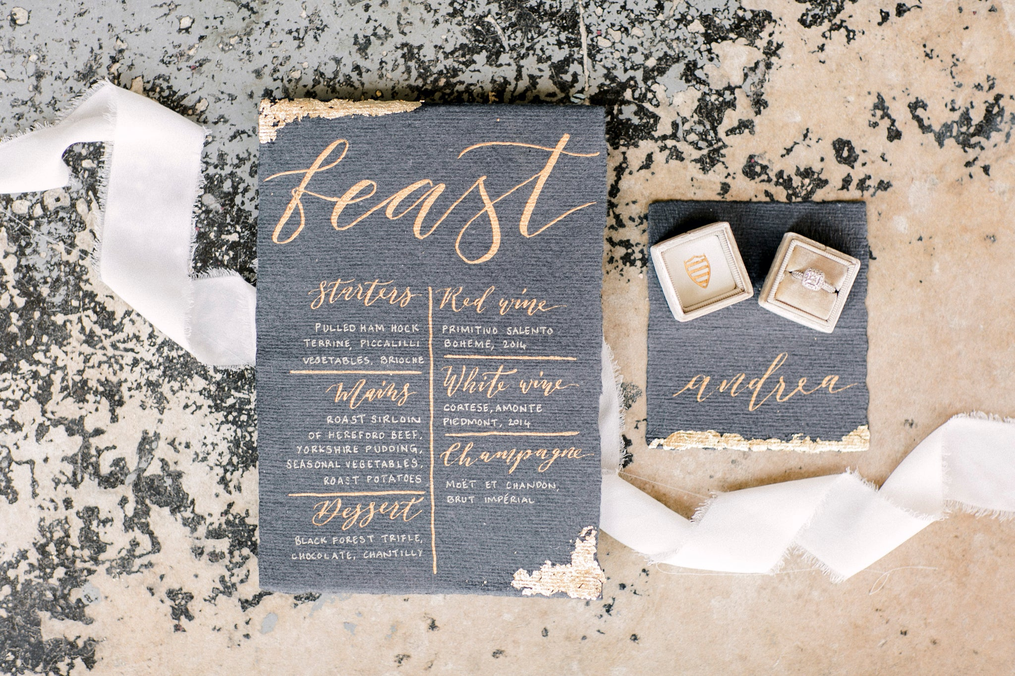 Black and Gold Wedding Stationary