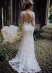 Floral Long Sleeves Low Back Wedding Dress