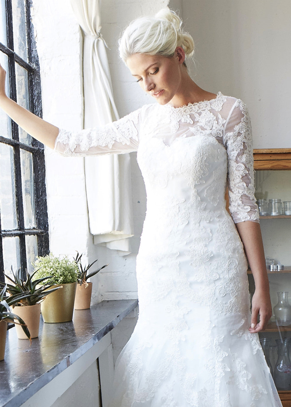 3/4 Sleeve Lace Mermaid Wedding Dress