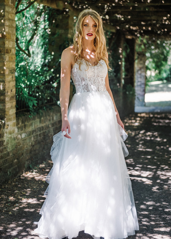 Beaded See-Through Wedding Dress with Frilled Skirt