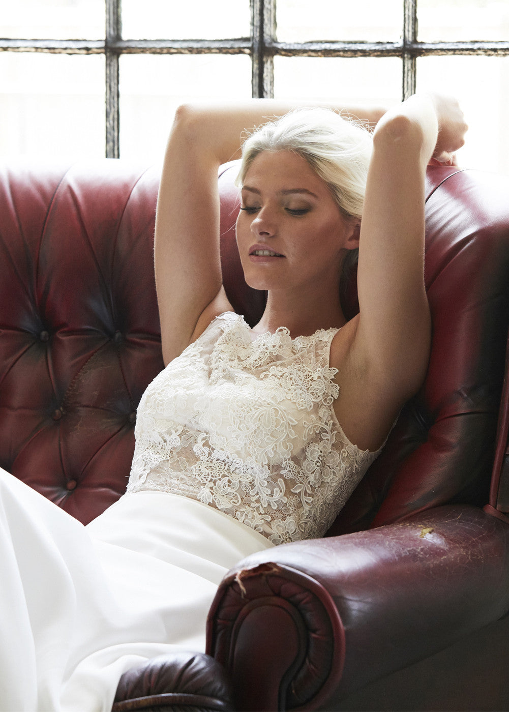 Chiffon Wedding Dress with a See-through Lace Bodice
