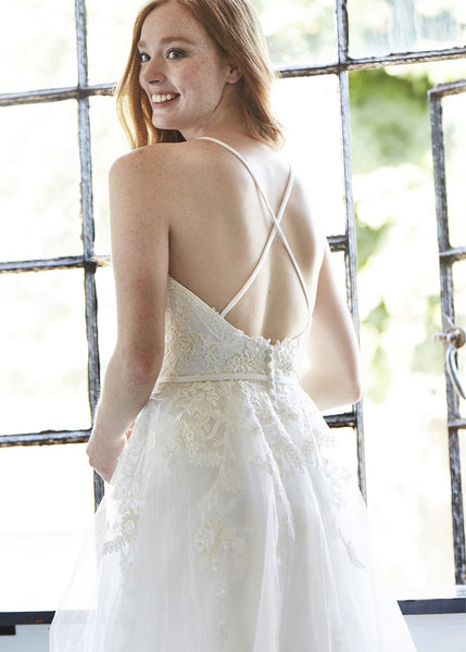 Cross Straps A Line Wedding Dress Aneberry Bridal