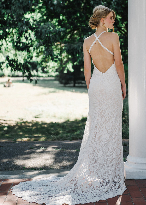 Halter Neck Boho Style Wedding Dress