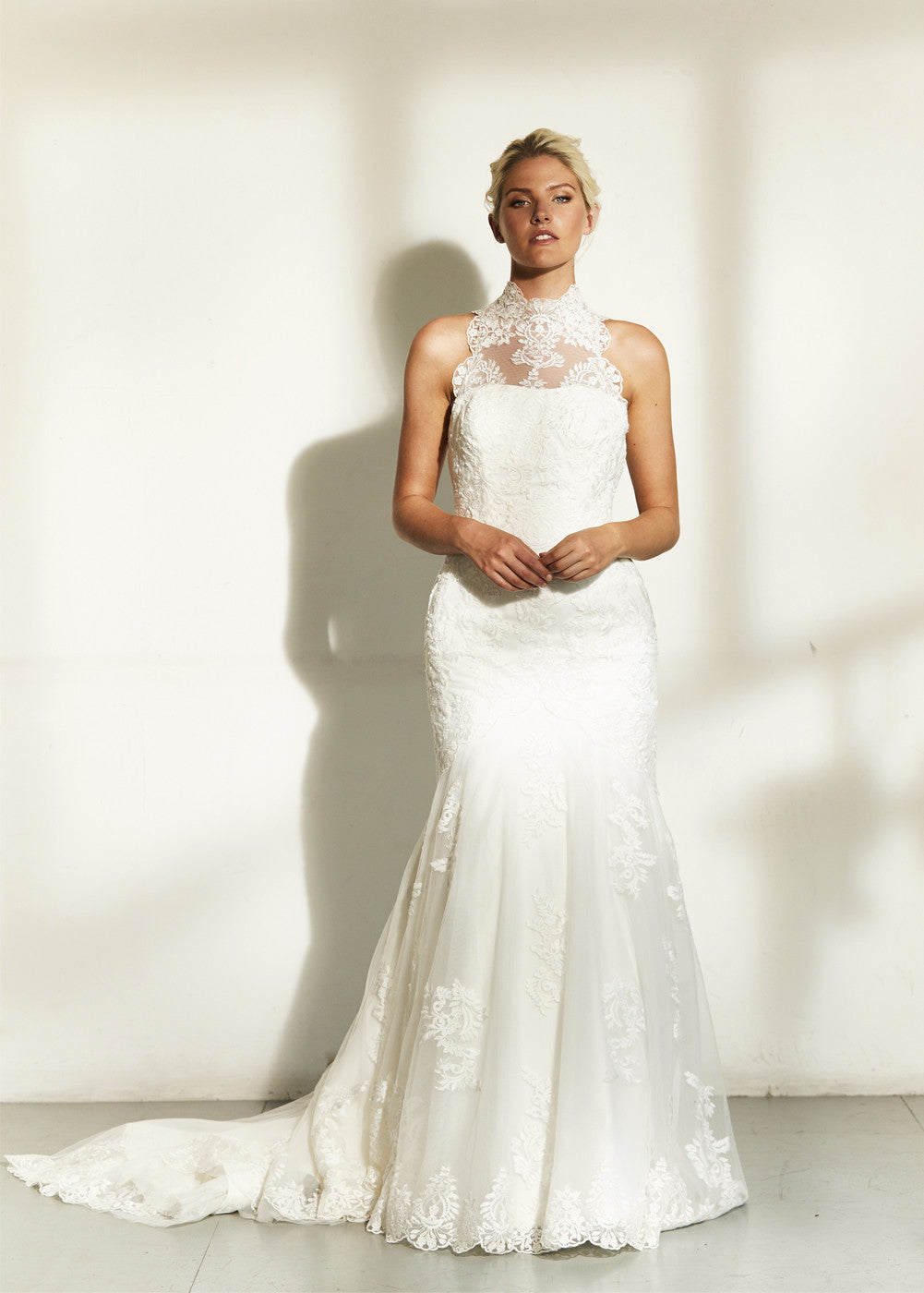 High Neck Lace Trumpet Wedding Dress Aneberry