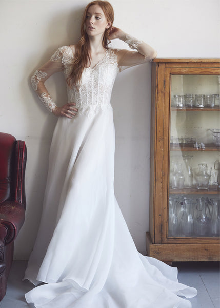 6318c39c5 Long Sleeve Sheath Wedding Gown With a See-through Corset – Aneberry Bridal