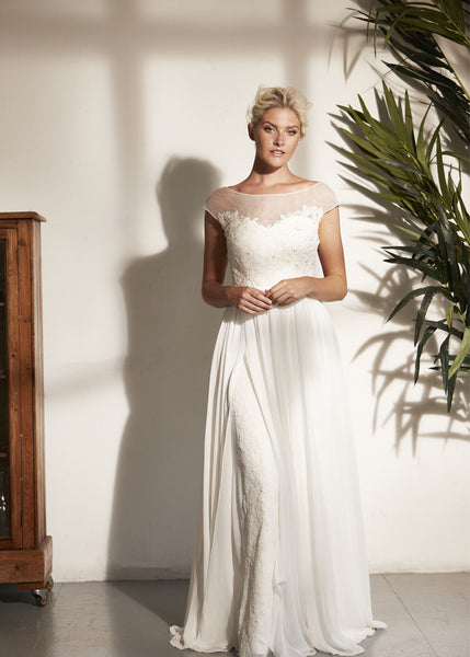 Vintage Style Chiffon Wedding Dress With A Low Back Aneberry