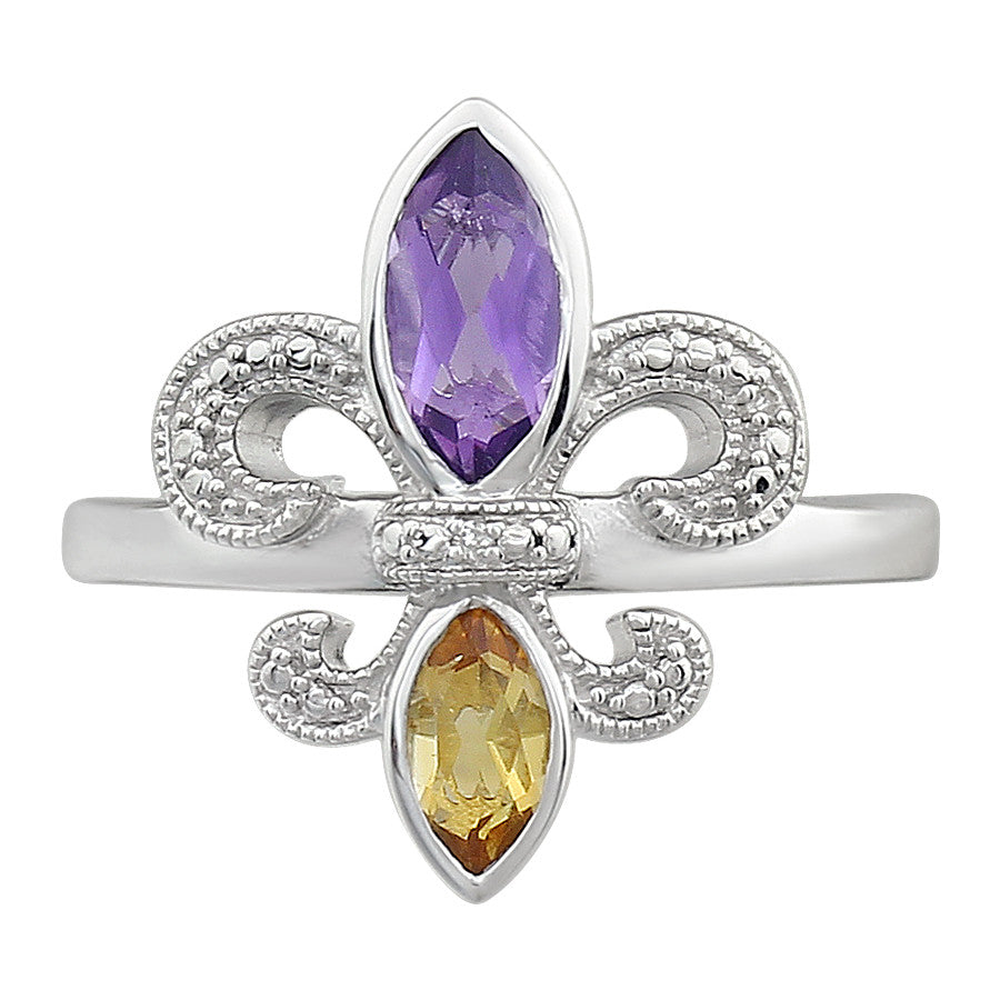 Amethyst and Citrine Fleur De Lis Ring in Sterling Silver