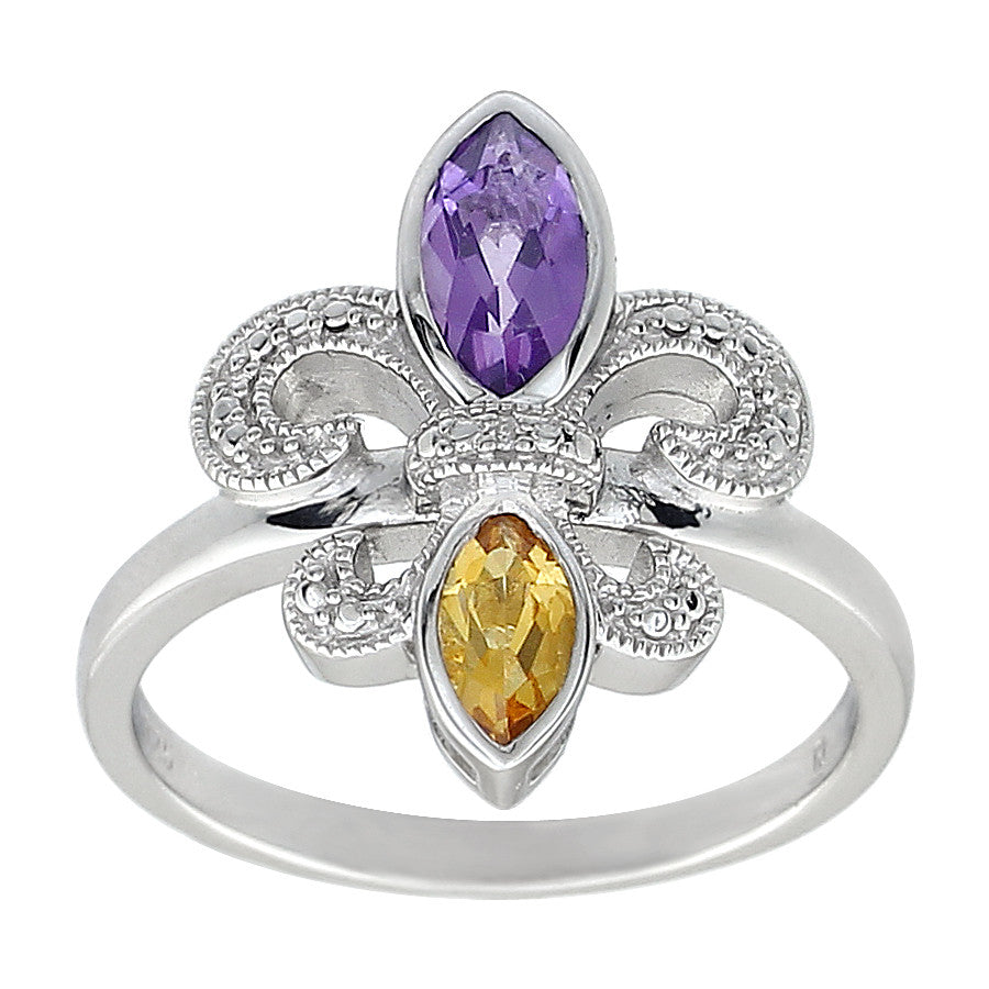 amethyst and citrine fleur de lis ring in sterling silver antons