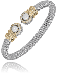 Round Diamond White Pearl Open Bracelet