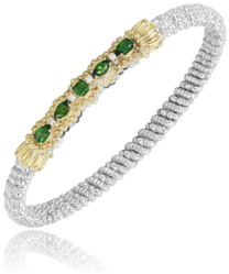 Green Diopside Diamond Closed Bracelet
