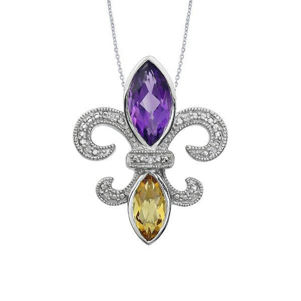 Amethyst and citrine fleur de lis pendant in sterling silver amethyst necklace amethyst necklace aloadofball