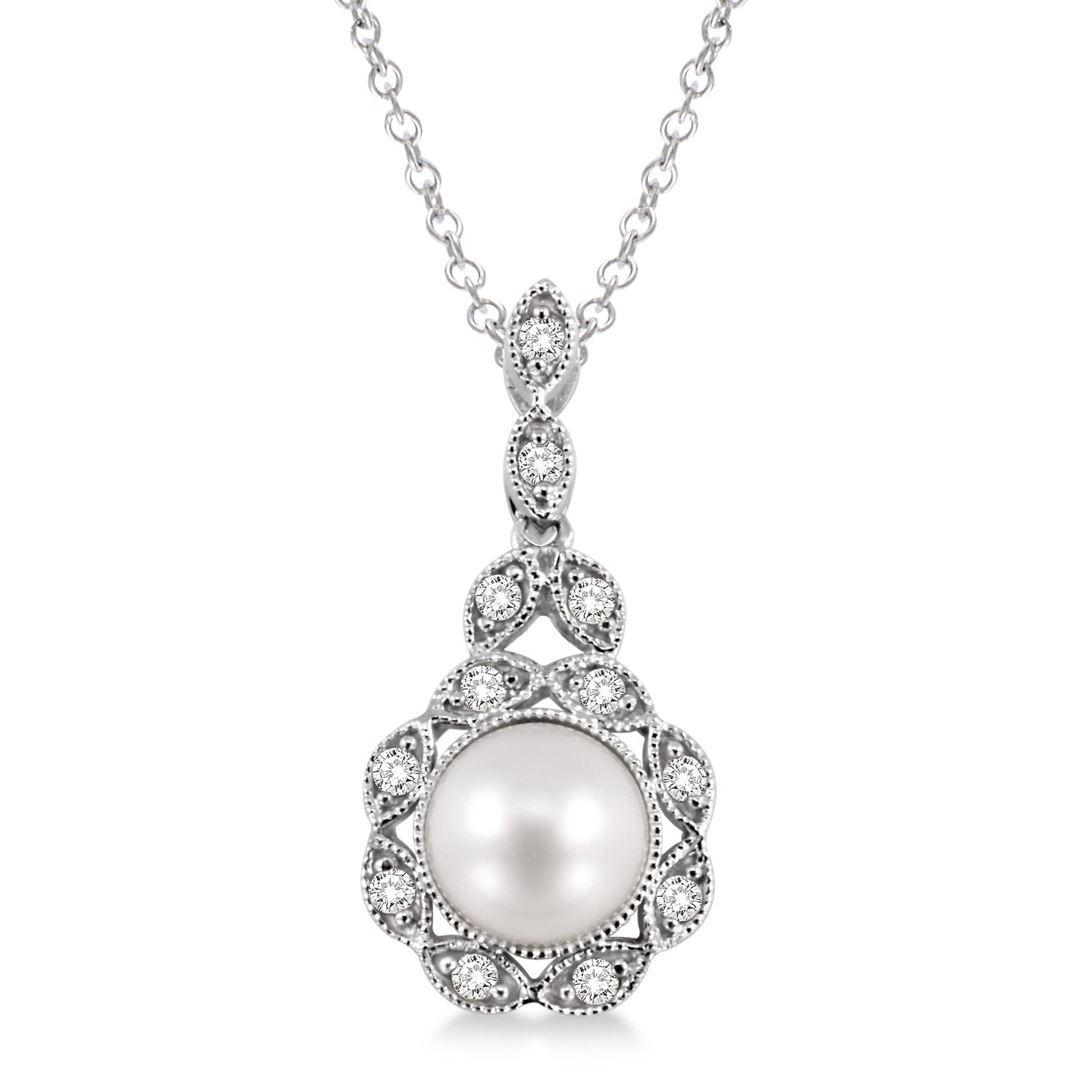 Pearl and diamond pendant antons fine jewelry pearl and diamond necklace aloadofball Images
