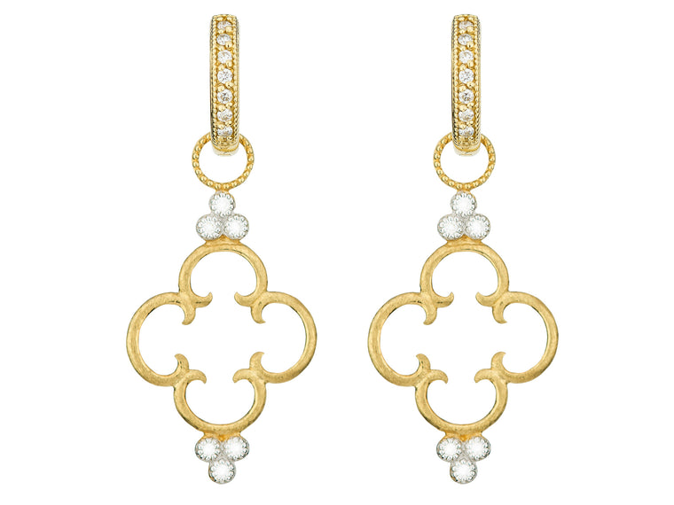 18k Simple Clover Diamond Trio Earring Charm
