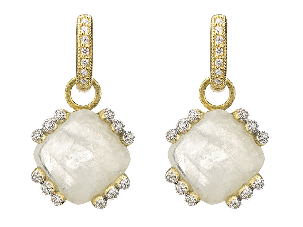 Provence Champagne Cushion Stone Bezel Earring Charms