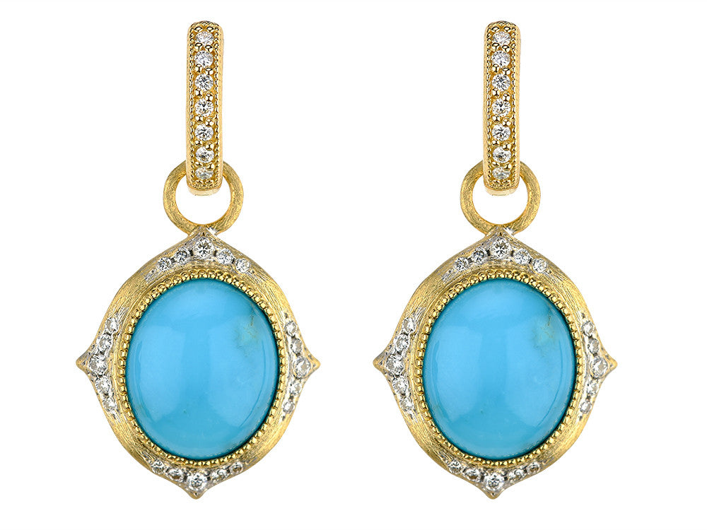 18k Turquoise with Diamond Accents Earring Charm