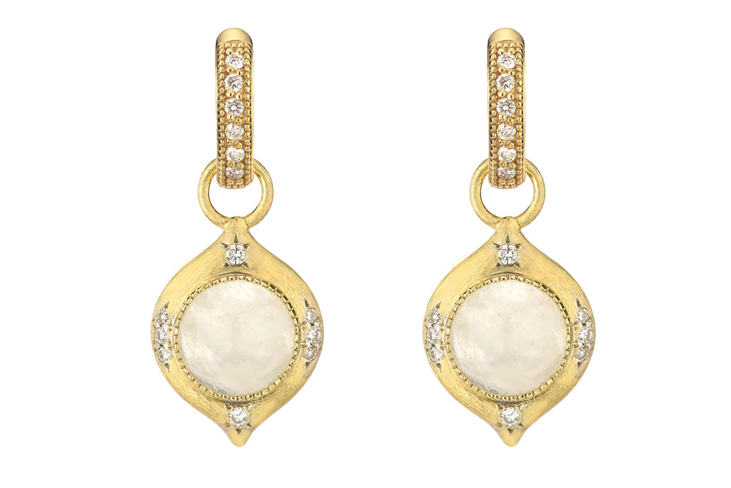 18k Round Cabochon Moonstone with Pave Diamond Accents in Moroccan Earring Charm