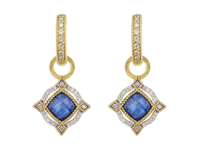 Lisse Delicate Cushion Stone Bezel Halo Earring Charms
