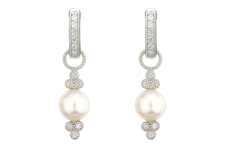 18k Small Provence Pearl Earring Charms with Diamond Accents