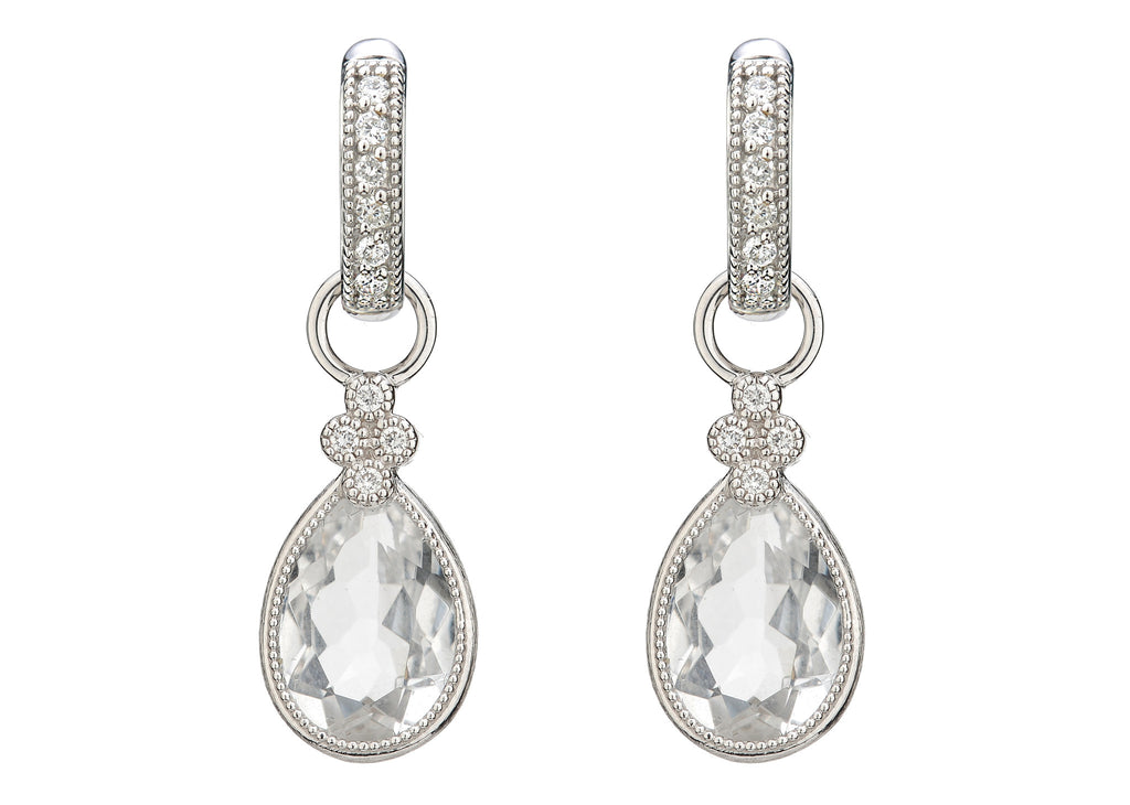 18k White Topaz Pear Shaped Provence Earring Charm with Diamond Accents