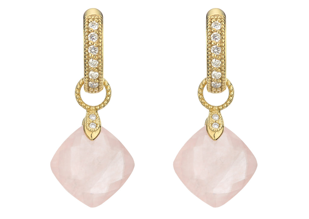 18K Rose Quartz Earring Charms