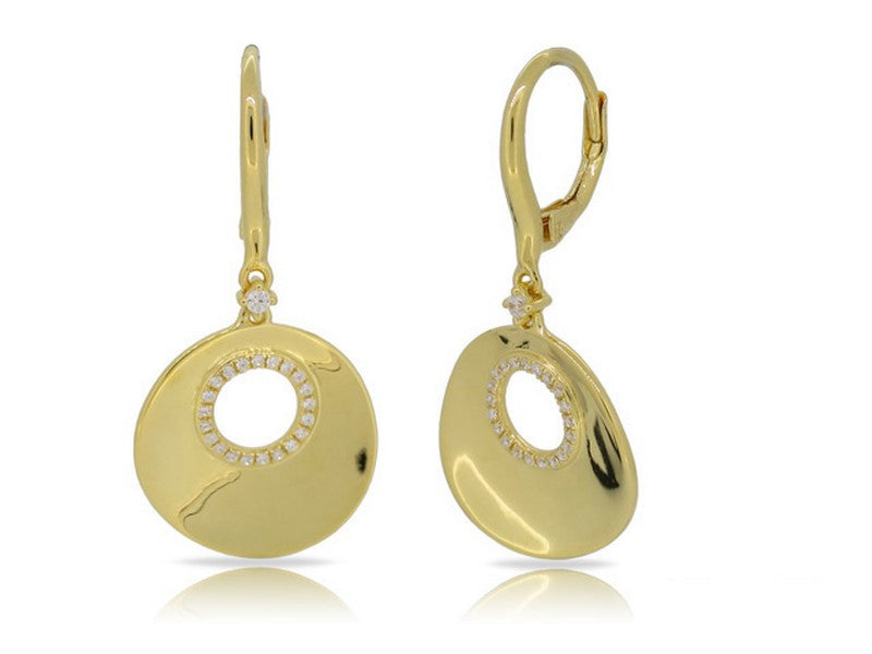 14k Diamond Disc Angle Earrings