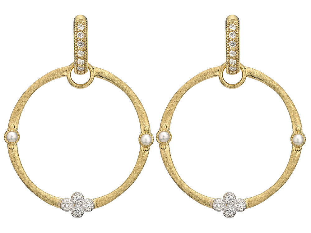 Provence Pearl Pave Brushed Earring Charm Frames - Antons Fine Jewelry