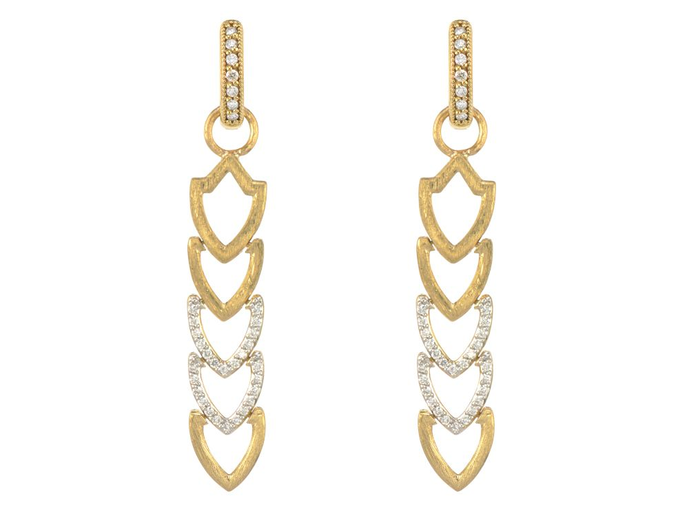 Lisse Open Shield Brushed And Pave Long Earring Charms