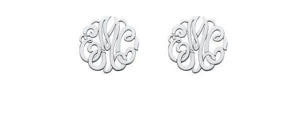 monogrammed material studs main product monogram stud earrings