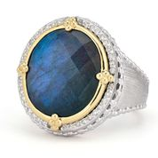 Medium Mixed Metal Oval Stone Pave Halo Beaded Ring