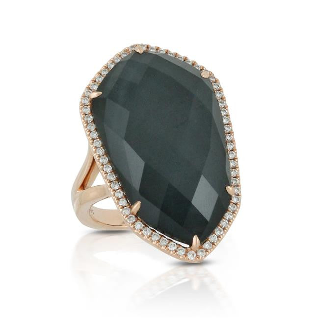 White Topaz Hematite Ring