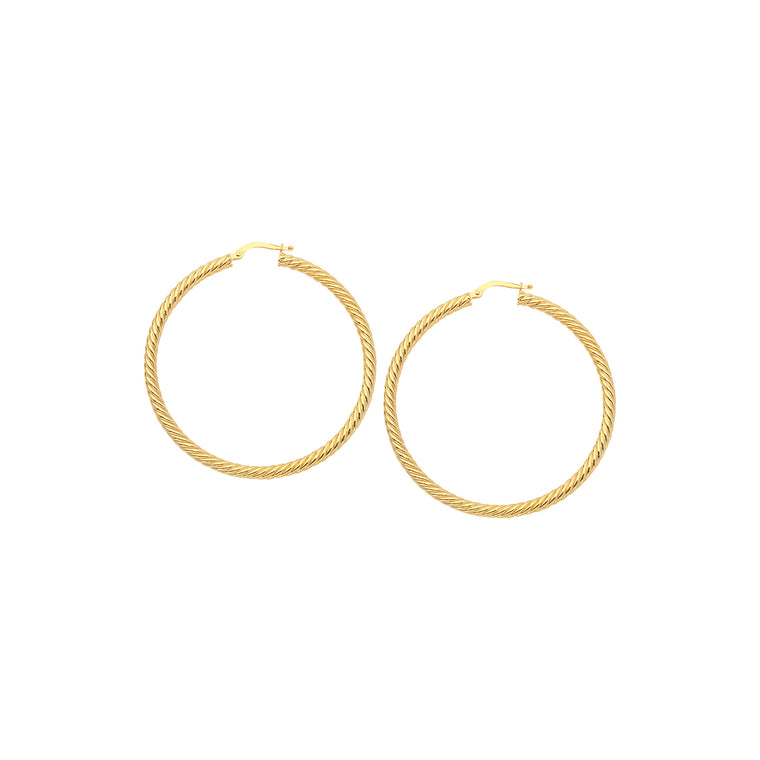 Twisted Hoop Earrings, 25mm