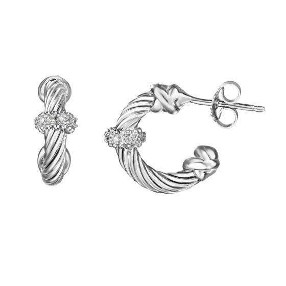 Sterling Silver and 18kt Half Moon Cable Drop Earrings