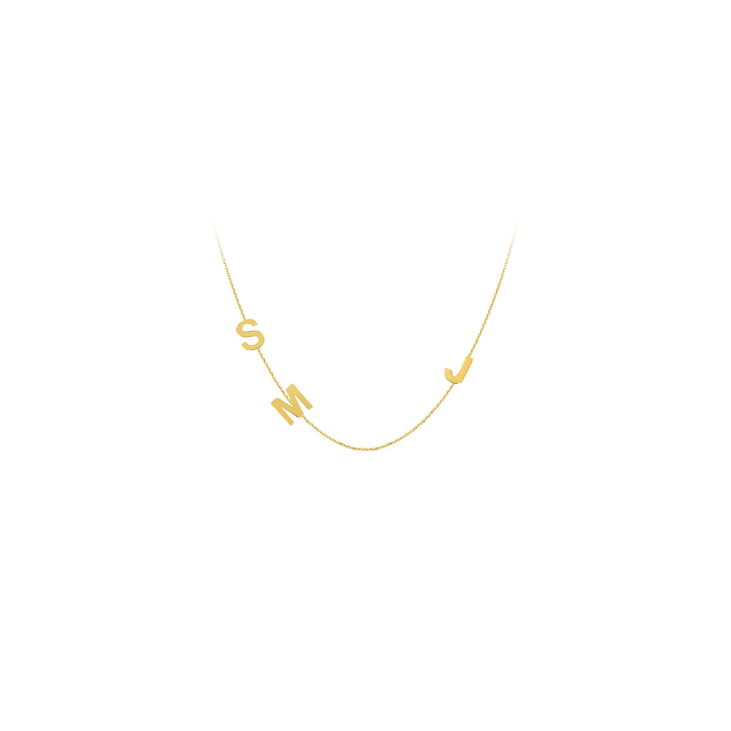 14k Yellow Gold Three Initials Necklace