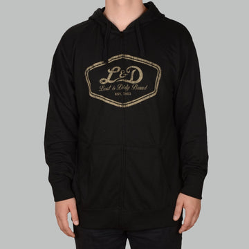 Crest Zip Hoody - Black/Cream