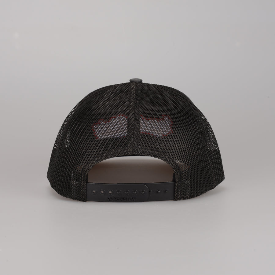 Tailwind Snapback - charcoal/black & red
