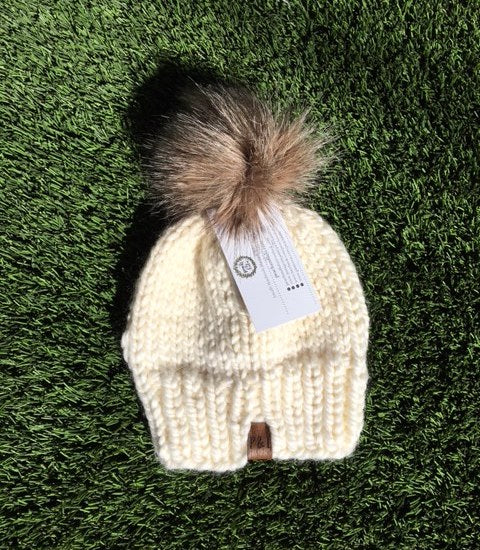 Knit Toque With Faux Fur Pom [Cream] - Little Bean + Co