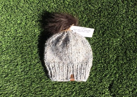 Knit Toque With Faux Fur Pom [Marble Grey] - Little Bean + Co
