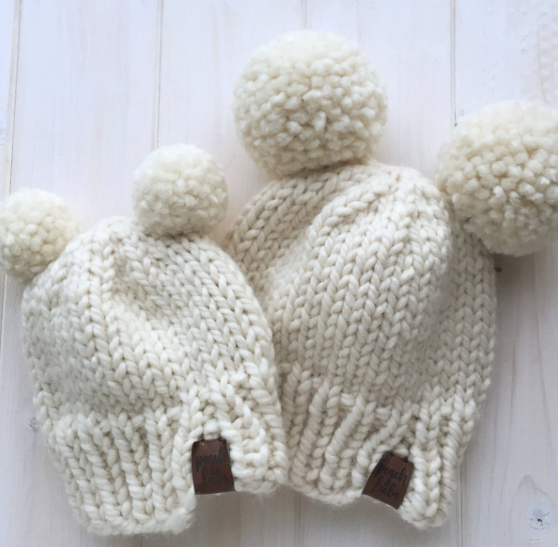 Cream Double Pom Toque - Little Bean + Co